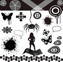 黑白几何花纹背景图案