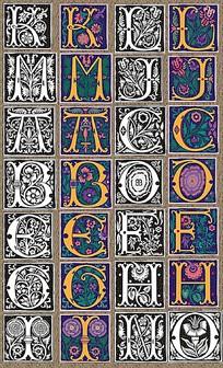 欧式文字花纹背景图案