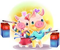 出双入对提灯笼的卡通甜蜜小猪