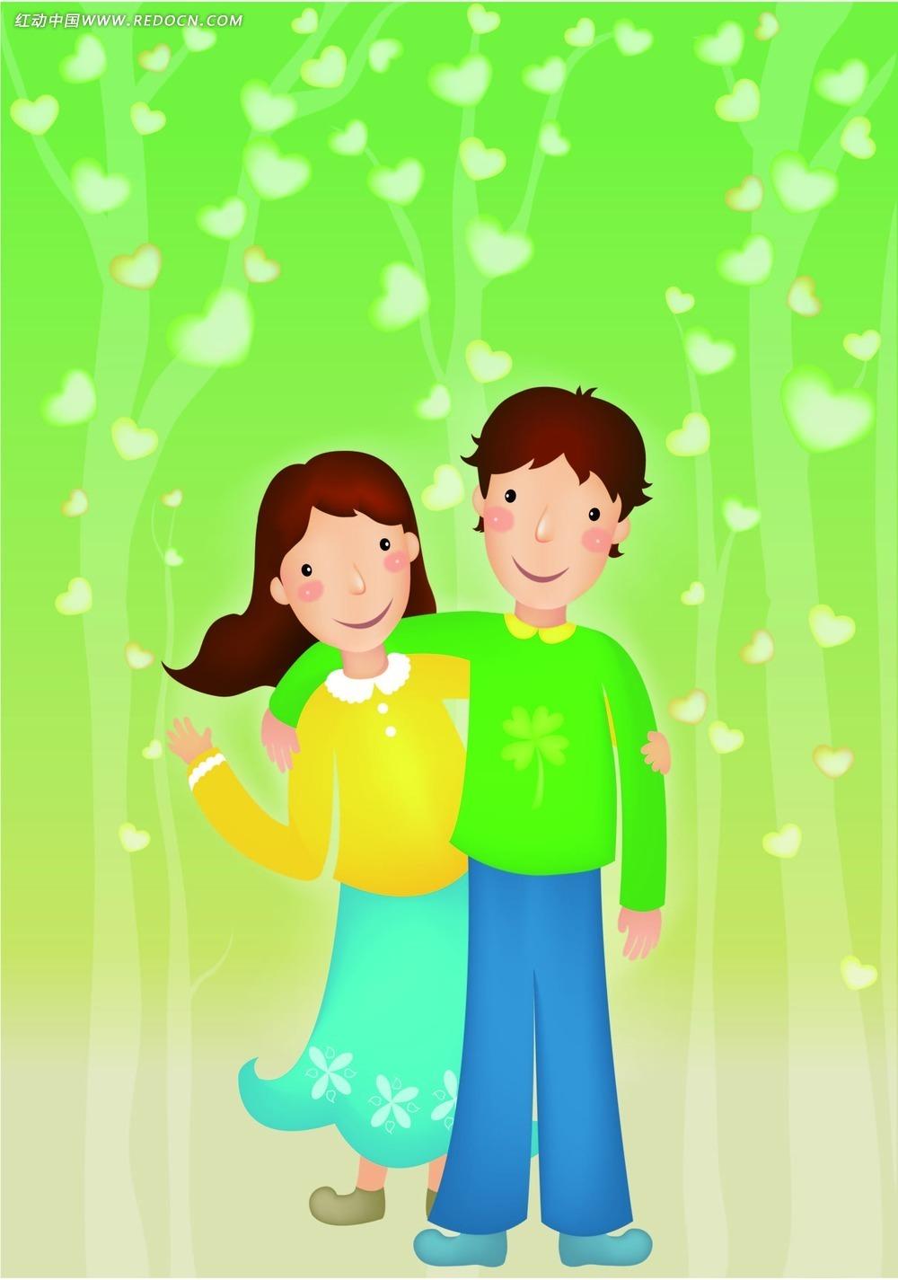 韩国情侣卡通人物矢量图