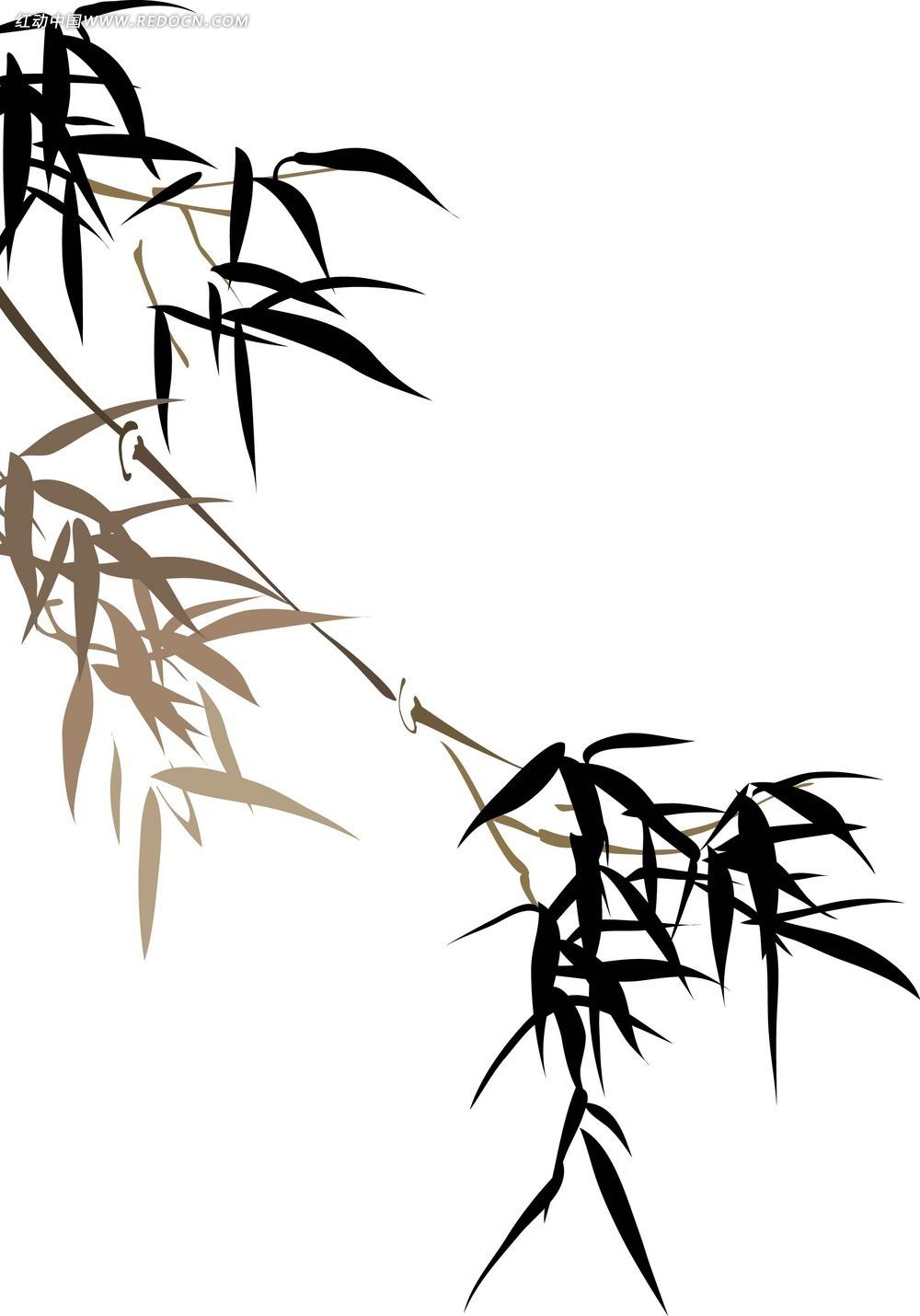 黑白水墨竹子素材