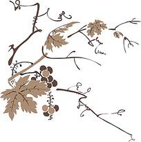 矢量传统葡萄架图案
