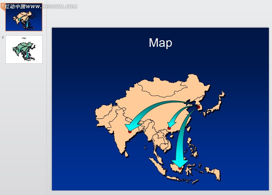 亚洲地图PPT模板免费下载 表格图标素材