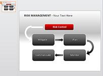 ppt灰色红色立体按钮流程图表