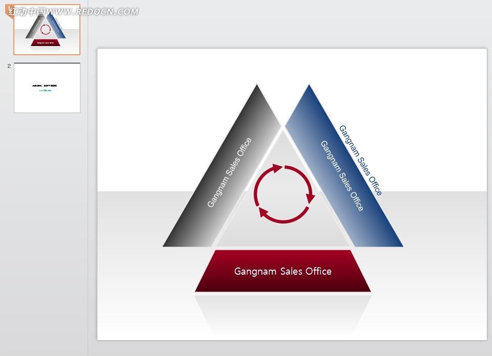 环形箭头三角形简约ppt素材