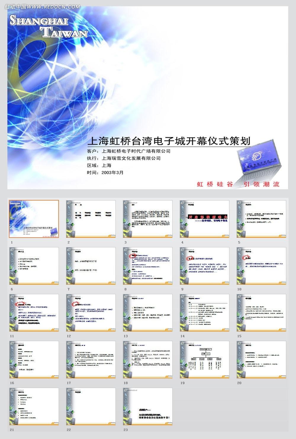 虹桥台湾电子城开幕式企划案ppt模板