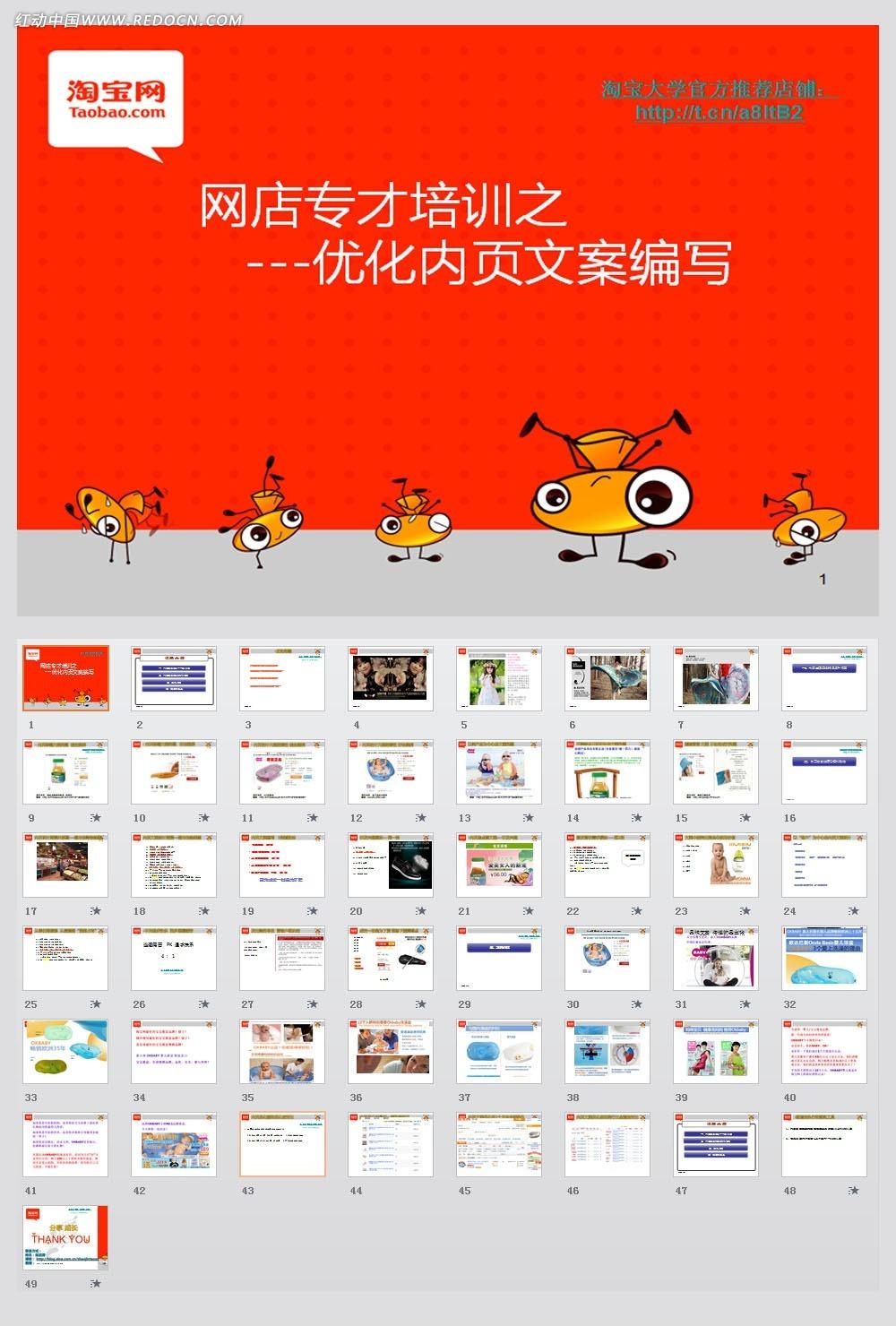 2012淘宝大学 宝贝详情内页文案写作ppt模板素材免费下载 编号