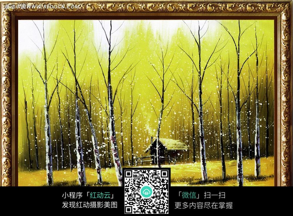 秋天落叶风景油画装饰画
