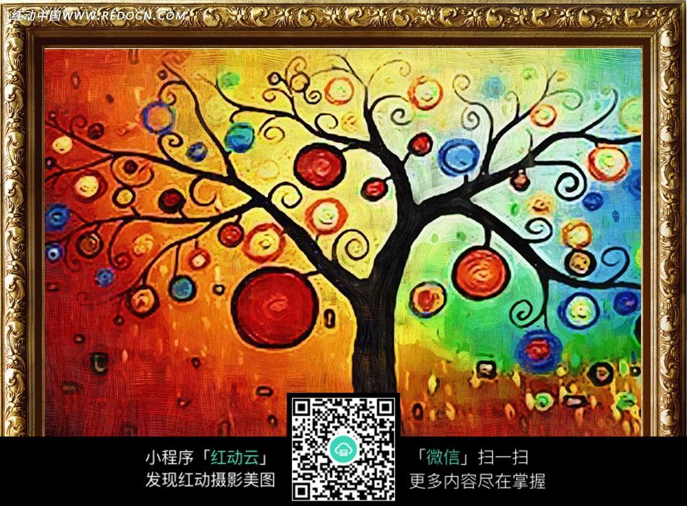 发财树抽象油画装饰画