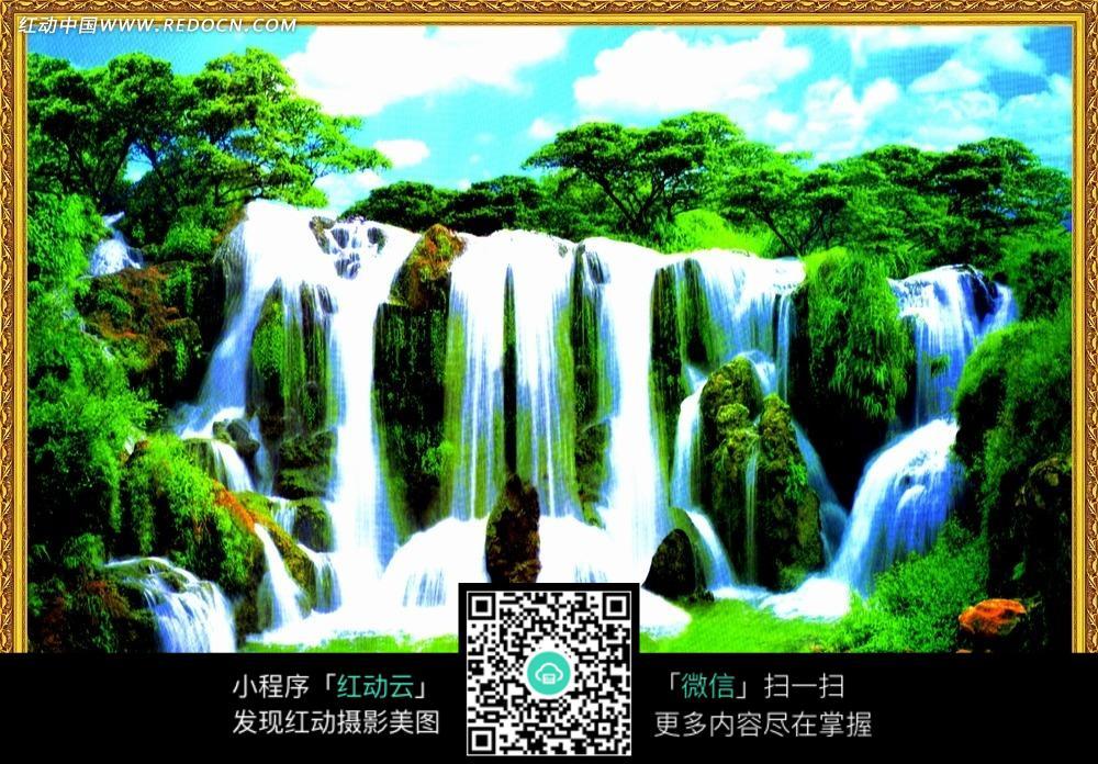 高山瀑布山水风景装饰画