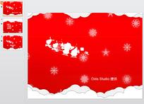 红色圣诞节背景PPT模板