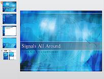 蓝色全球卫星信号ppt素材