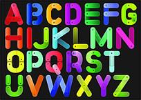 彩色英文字母艺术字