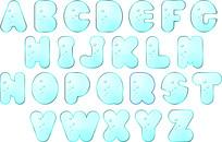 蓝色海底泡泡风格的26个英文字母ai源文件