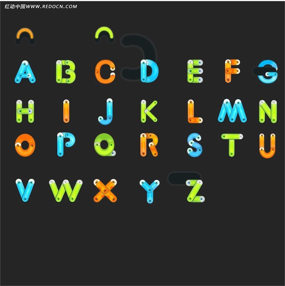 彩色创意英文字母设计图片