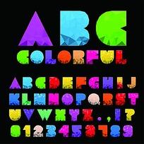 彩色数字字母