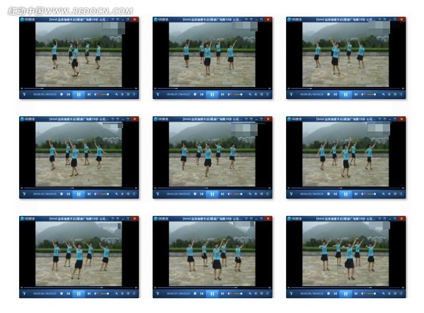 最新广场舞18步心花开在草原上视频素材 人物