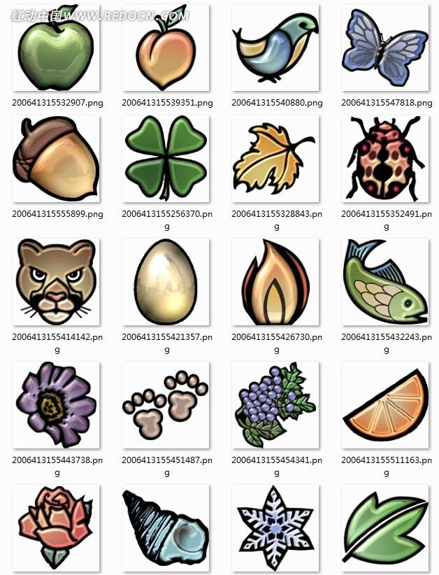 手绘风动物植物app图标