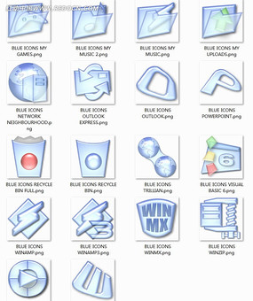 半透明漫画网页图标设计素材