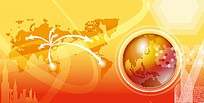 黄色地球广告背景图片