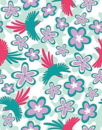 喜鹊小花背景图案