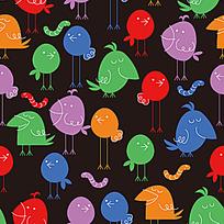 卡通小鸟毛毛虫背景图案