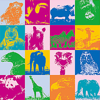 纹理效果动物图案背景