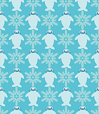 海豚雪花连续图案背景