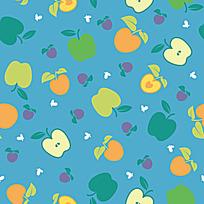 蓝色苹果图案背景