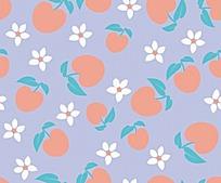 素雅苹果小花连续图案背景