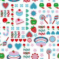 几何糖果蛋糕背景图案