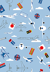 飞机国旗连续背景图案