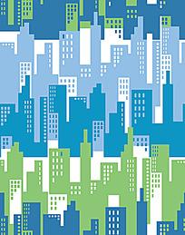 城市剪影连续图案背景