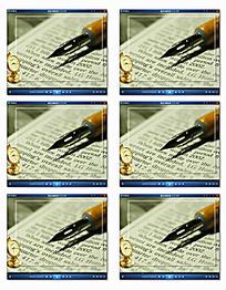 钢笔英文书背景相框视频
