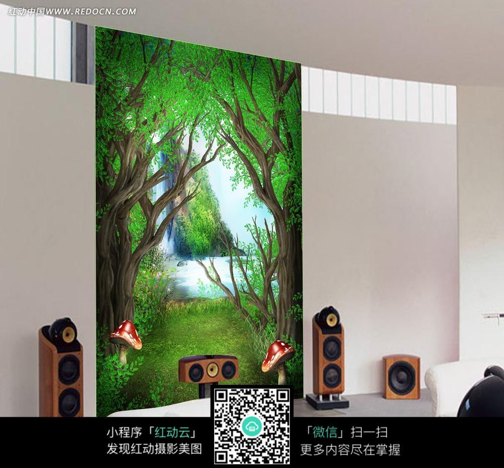森林河流田园风背景墙图片