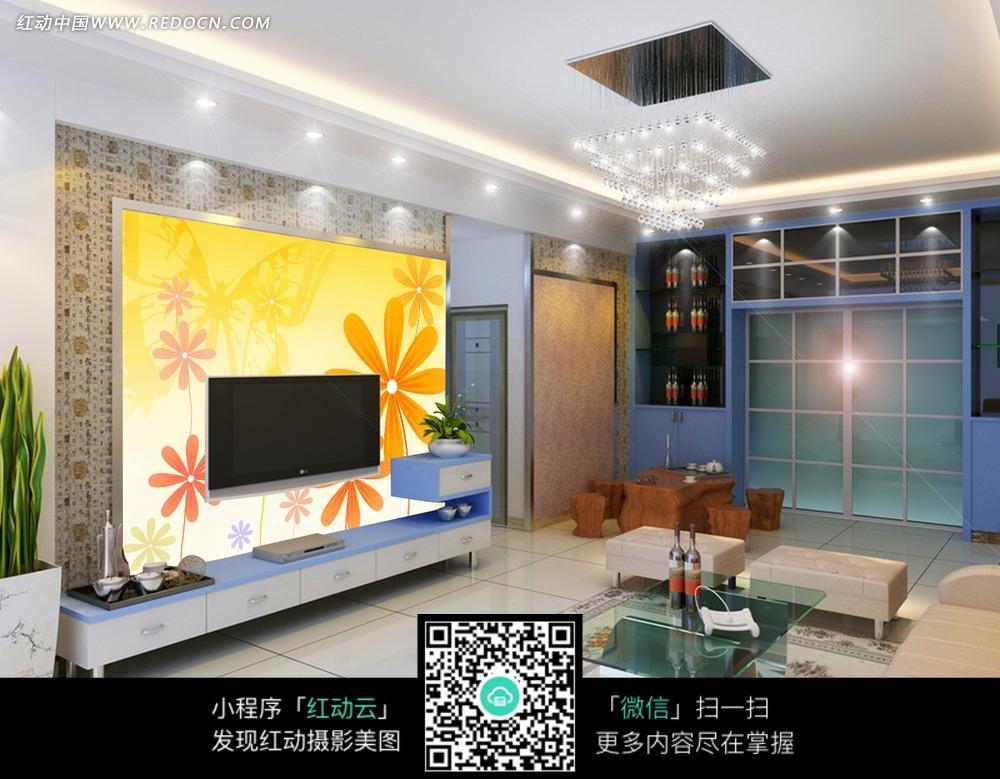 免费素材 图片素材 室内装饰 背景墙 黄色淡雅花朵客厅电视背景墙  请