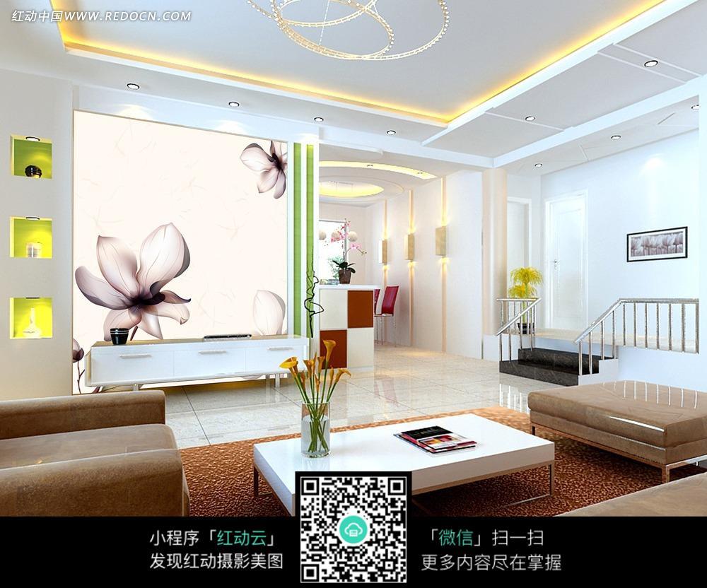 桔梗素雅客厅背景墙_背景墙图片