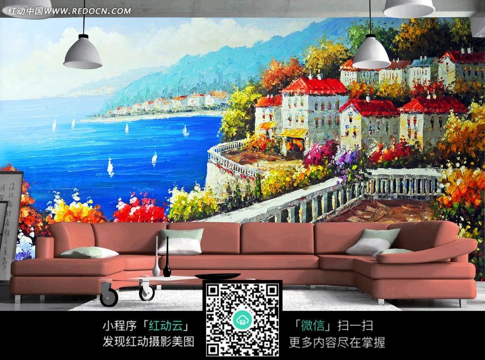高清手绘水彩海边建筑背景墙