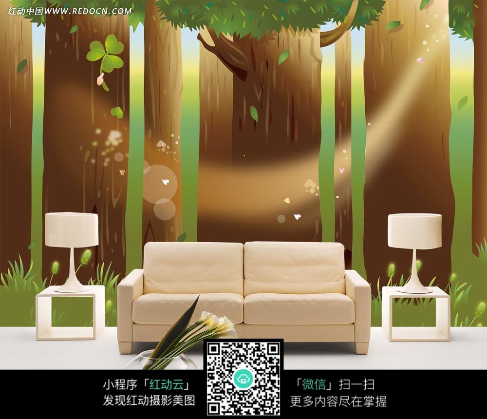 室内装饰画  jpg装饰画  高档装饰画  酒店装饰画    卡通大树清新