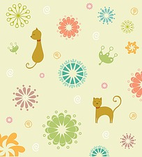 卡通小猫花纹背景