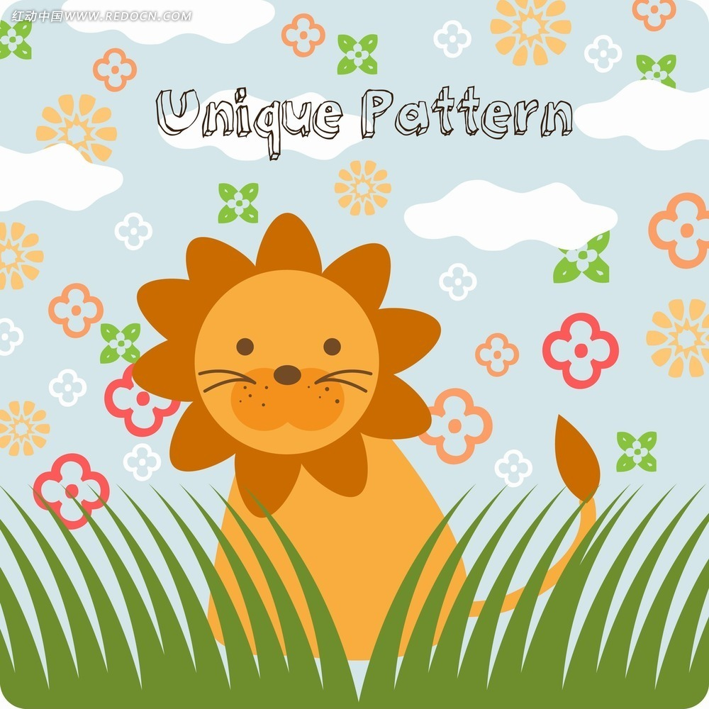 狮子花纹花朵卡通背景