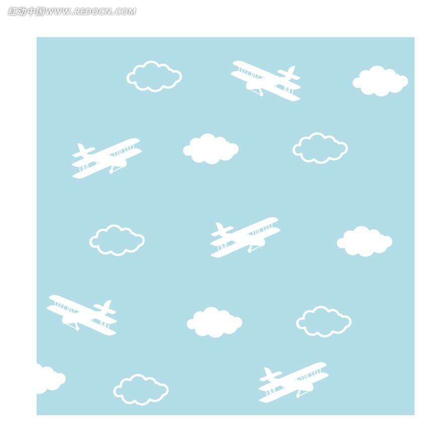 卡通飞机白云背景矢量图ai免费下载