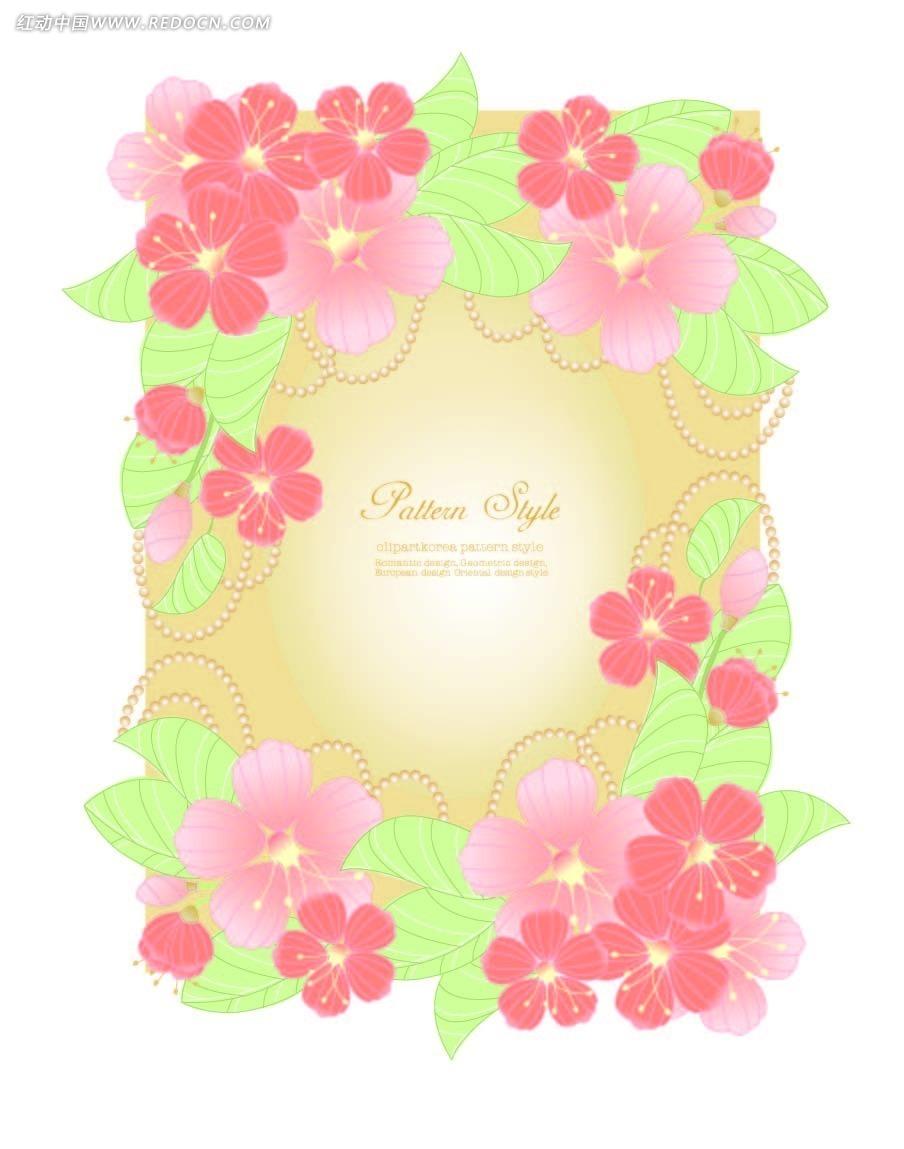 桃花边框花纹背景