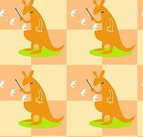 黄色卡通袋鼠底纹背景