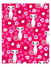 时尚卡通猫花纹素材