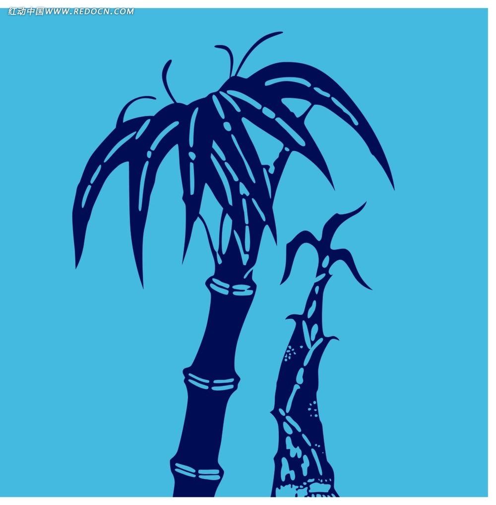 竹树竹笋植物剪影