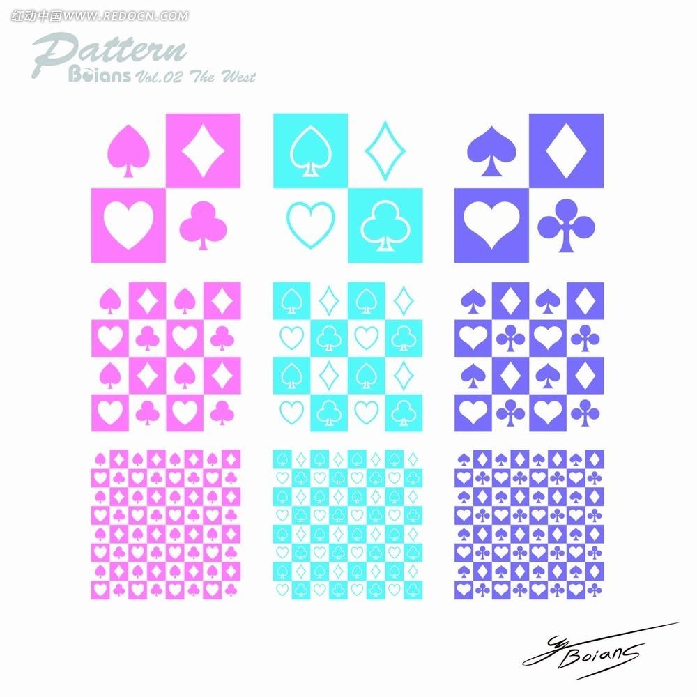 扑克牌标志底纹ai免费下载_花纹花边素材