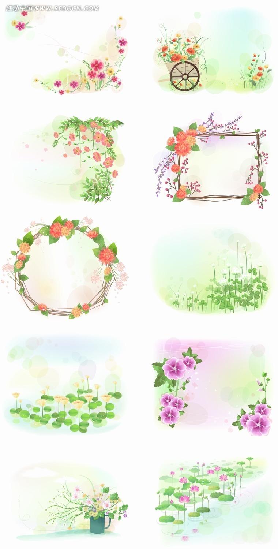 免费素材 矢量素材 花纹边框 花纹花边 手绘鲜花边框边角