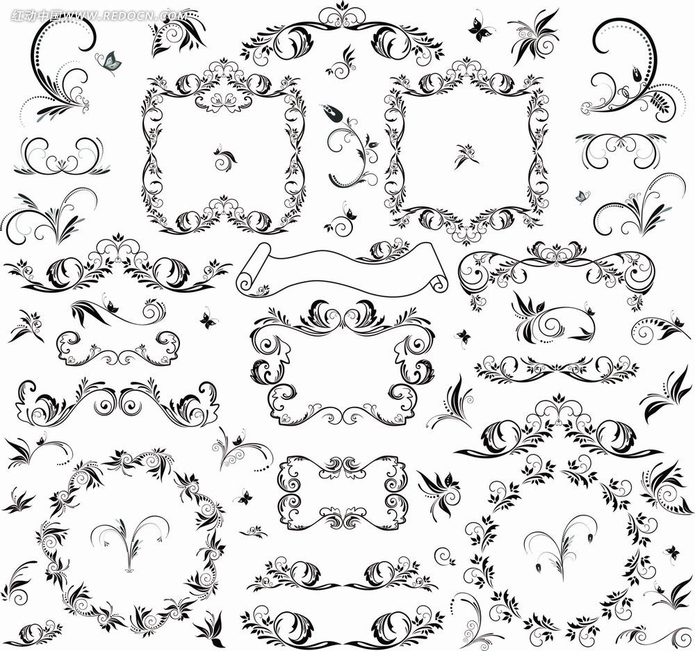 黑白花纹边框设计