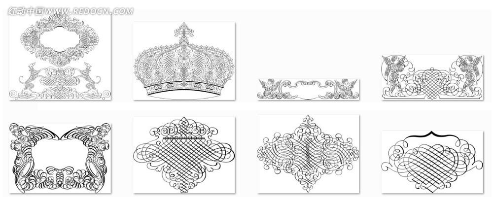 欧式黑白线条对称花纹素材